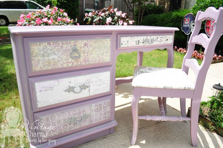 DIY:  This desk was given a facelift with paint & by decoupaging paper onto the drawer fronts. Easy tutorial on how it's done - via Vintage Charm Restored