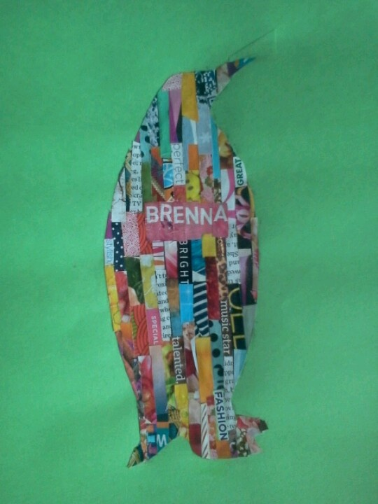I finally finished! Cut magazine strips and paste over animal silhouettes... Caution: takes forever!!!
