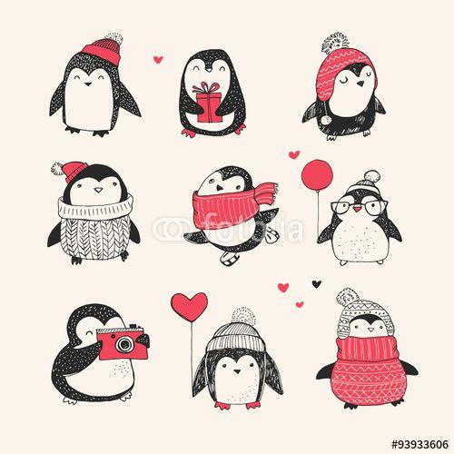 """Laden Sie den lizenzfreien Vektor """"Cute hand drawn penguins set -  Merry Christmas"""" von Marina Zlochin zum günstigen Preis auf Fotolia.com herunter. Stöbern Sie in unserer Bilddatenbank und finden Sie schnell das perfekte Stockbild für Ihr Marketing-Projekt!"""
