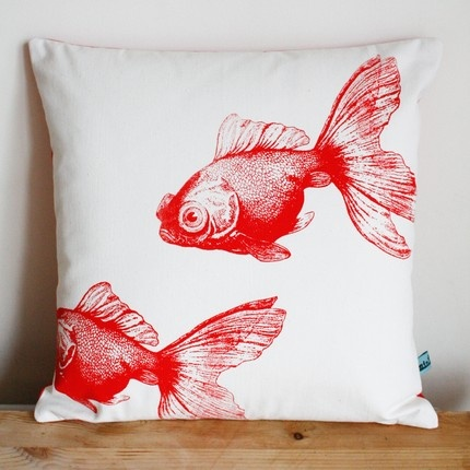 Carp silk screened pillow