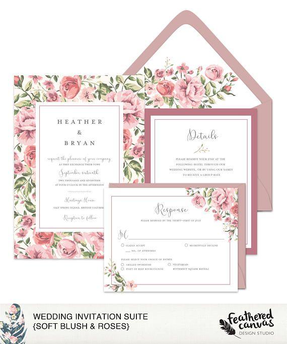 Wedding Invitation Suite Soft Blush & Roses