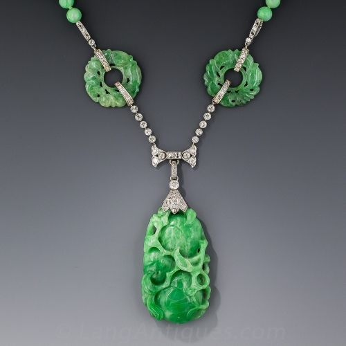 Art Deco Platinum and Diamond Carved Jade Necklace Lang 13750