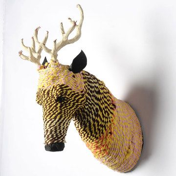 Rope Deer Mount 14, $119, now featured on Fab.  Ok I have a mild obsessions with faux taxidermy.  While I like the concept of these heads, lions, tigers, elephants, deer oh my! Not sure about the color ways used in the execution.