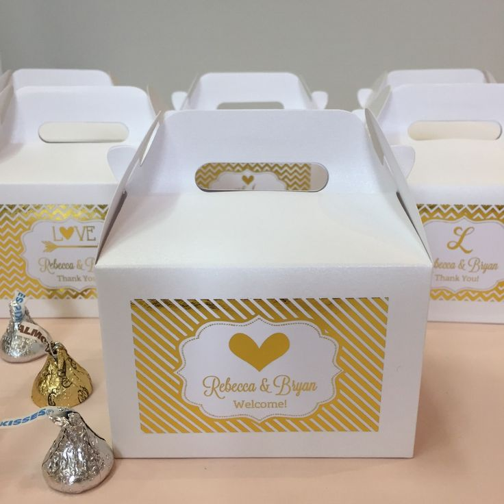 Shimmering gold wedding welcome gifts for the start to a glamorous wedding. Shop affordable wedding favors at David's Bridal