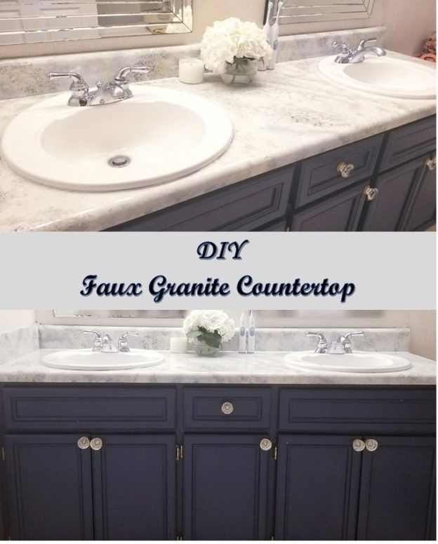 Faux Granite Countertops in Master Bathroom! Go faux it or go home! The risk was worth it, we loved the end results. See how we completed this project!