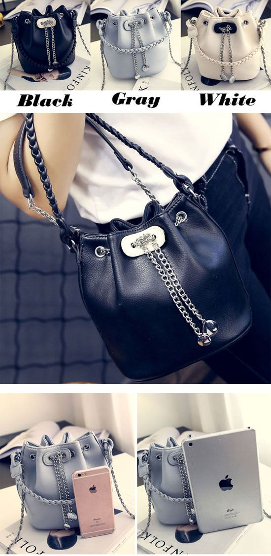 Unique Metal Chain Draw String Small Chain Lady Bucket Weave PU Shoulder Bag for big sale! #draw #string #small #pu #backpack #Bag #school