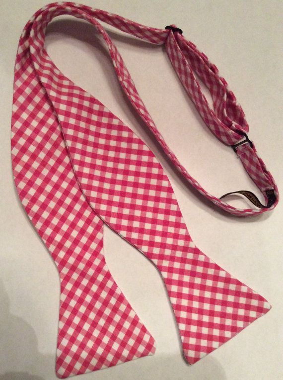 Raspberry Gingham Check Bow Tie by TarRiverTies on Etsy