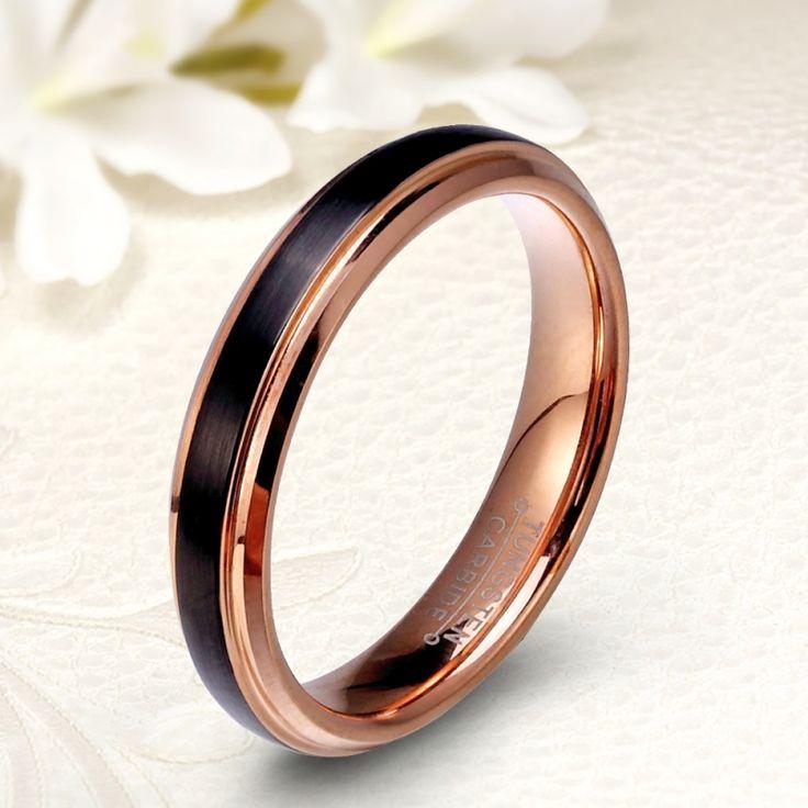 Különleges, fekete-rozé arany bevonatú női tungsten karikagyűrű