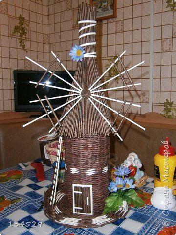 Поделка изделие Плетение Мельница тайник Бумага газетная Клей фото 2