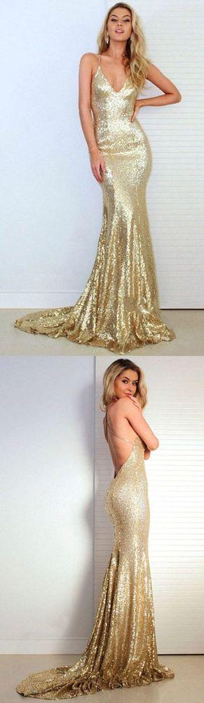 Mermaid Prom Dresses V-neck, Gold Party Dresses Sequined, Long Formal Dresses 2018 Ruffles, Backless Evening Dresses Modest