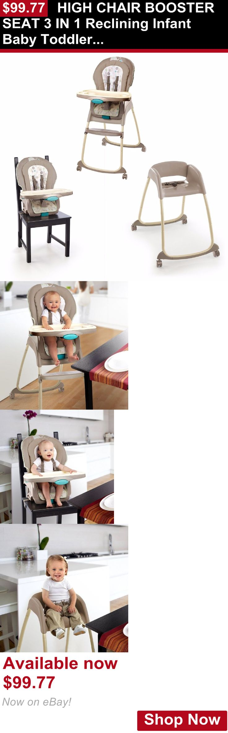 Baby High Chairs: High Chair Booster Seat 3 In 1 Reclining Infant Baby Toddler Feeding Unisex New BUY IT NOW ONLY: $99.77