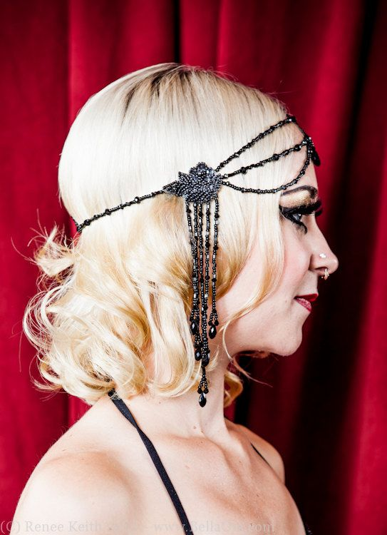 Black Beaded Headpiece 1920s Inspired Handmade by prettymacabre, $80.00