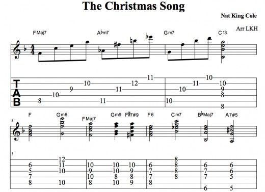 the christmas song guitar chords chord melody tab video lessons nat king cole jazz the. Black Bedroom Furniture Sets. Home Design Ideas