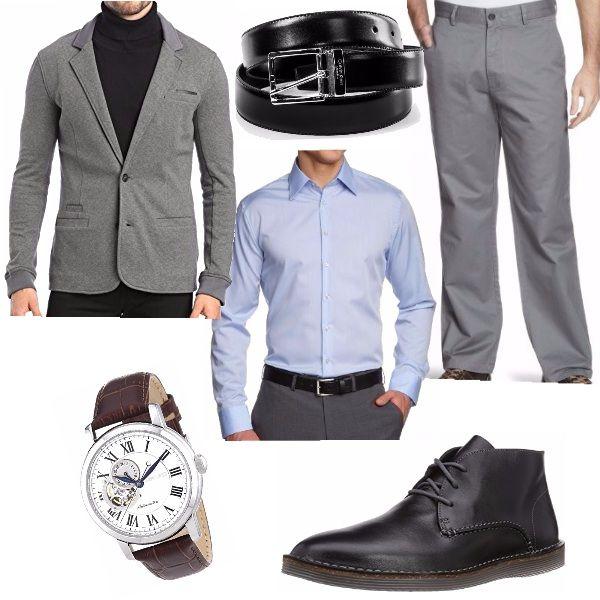 Look da uomo, ideale per l'ufficio; i toni del grigio, del nero e del bianco, dove i tagli e le le linee eleganti vengono alleggerite dalla giacca di taglio classico ma di tessuto moderno.