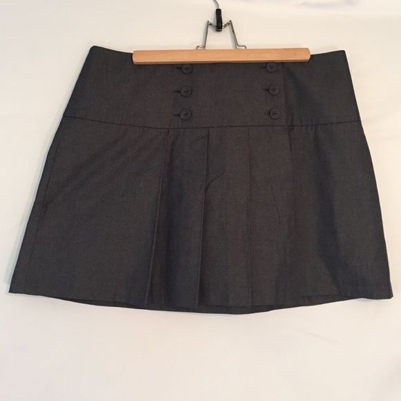 Modern Calvin Klein Denim Skirt - Size 12 Schoolgirl style modern skirt by Calvin Klein. Unlined soft charcoal gray denim with double row of buttons. Very cute!!!✏️ Calvin Klein Skirts Mini