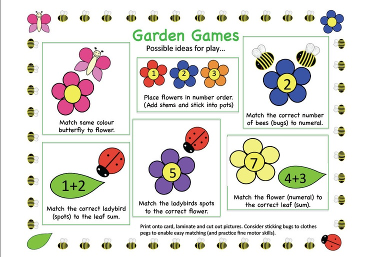 Garden Friends Maths Game: A resource consisting of a range of bugs, flowers and leaves. For a range of games relating to colour matching, ordinal number, matching quantity to numeral and simple addition.