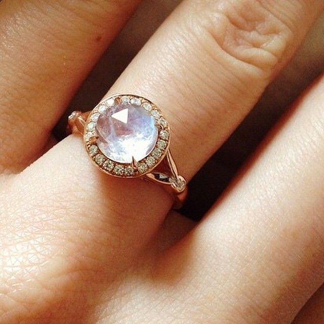 Popular Custom rose cut Moonstone in a Rose Gold Diamond Dusted Moon Goddess inspired Commitment ring at Anna