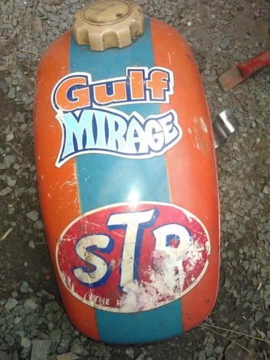 vintage Stadion tank with vintage Gulf sticker