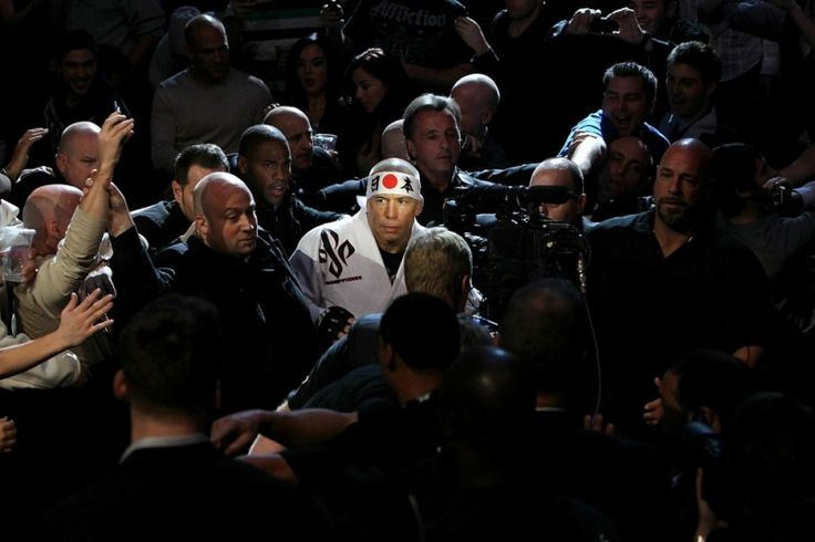 GSP entering the cage vs Josh Koscheck at UFC 124