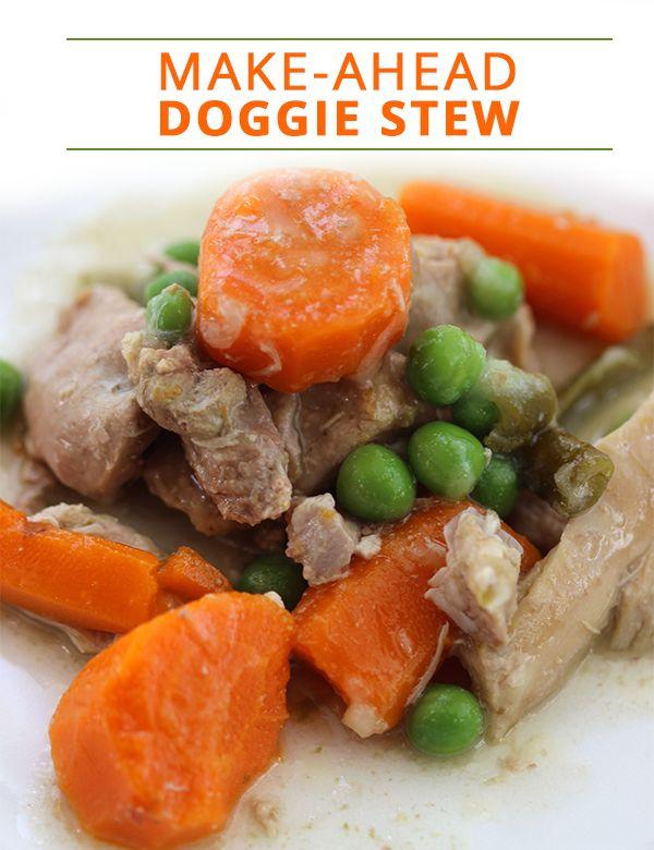 Make-Ahead Doggie Stew Recipe. Dogs will love this savory hearty stew!!  #homemadedogfood #homemadepetfood