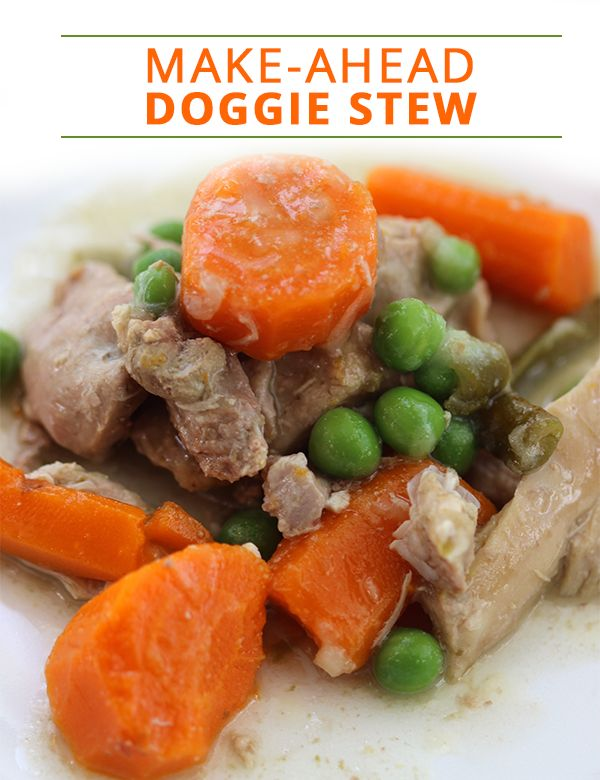 Make-Ahead Doggie Stew Recipe. Dogs will love this savory hearty stew!!  #homemadedogfood #homemadepetfood