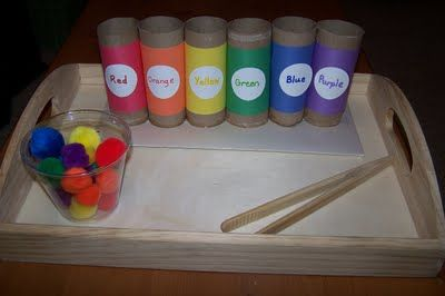 Fine Motor color sort with pom-pons, TP tubes, and tongs.