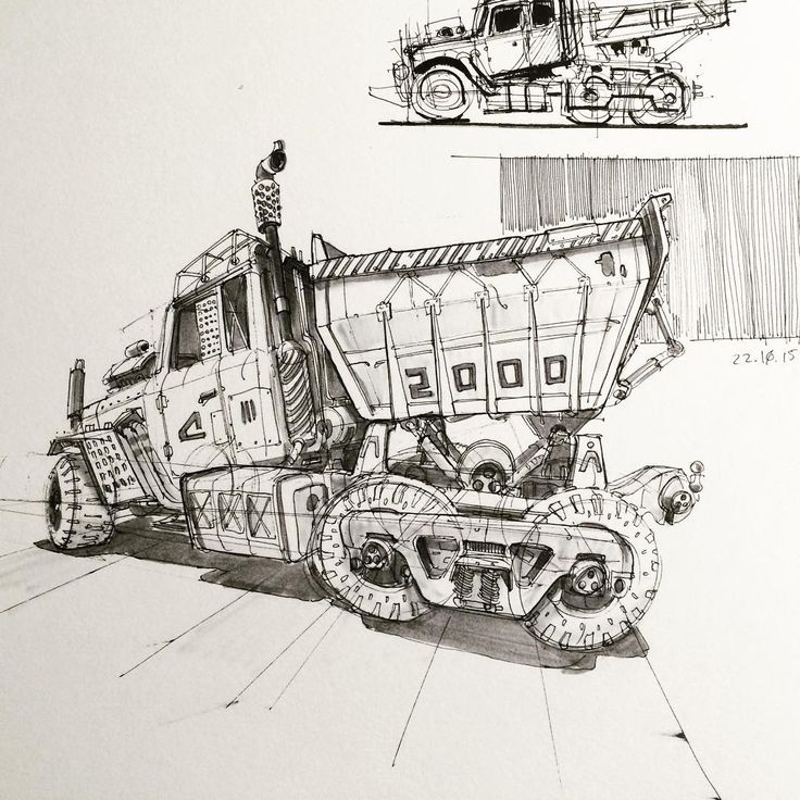 """423 Likes, 7 Comments - Braydan Barrett (@__br__ba) on Instagram: """"Woah.. 2000 of you. Thank you all!! Here's a heavy utility truck 🚛. Have a great Friday 😁 #inktober…"""""""