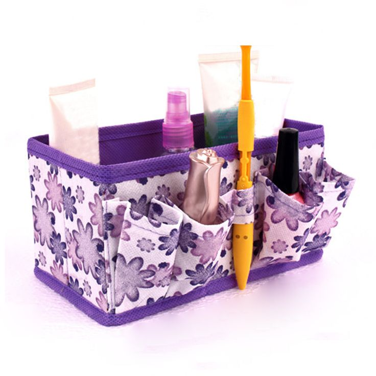 Non-woven Cosmetic Storage Box Make Up Organizer Folding Desktop Dressing Jewelry Storage Box Small Bag Makeup Case #Affiliate