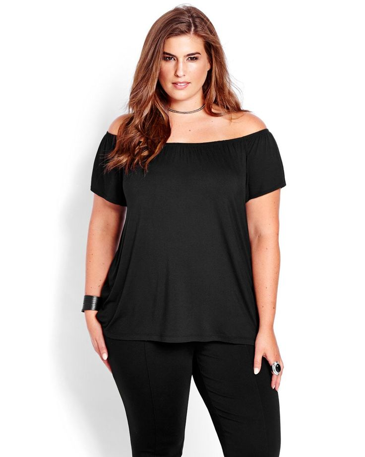 Show a little shoulder in this sexy plus size Bardot top from Michel Studio. A line shape, 28 inch length, 16 inch sleeves.