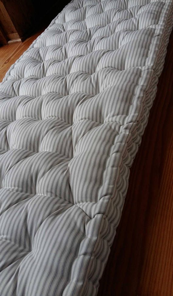 Custom Bench Cushion Shown In Grey And White Woven Cotton Ticking 76 X 24