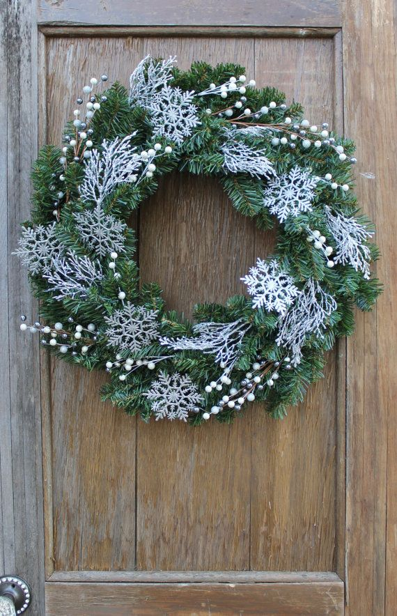Snowflake Wreath Winter Wreath Icy Wreath by HeartOfHomeDesign