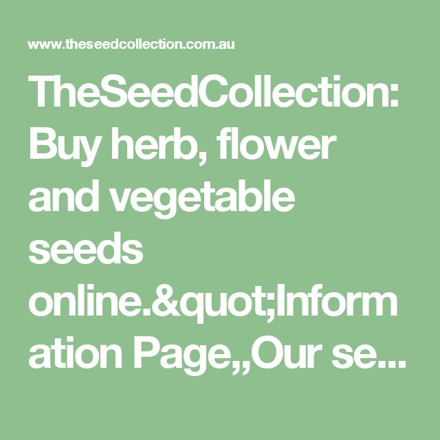 "TheSeedCollection: Buy herb, flower and vegetable seeds online.""Information Page,,Our seeds,""Brows"