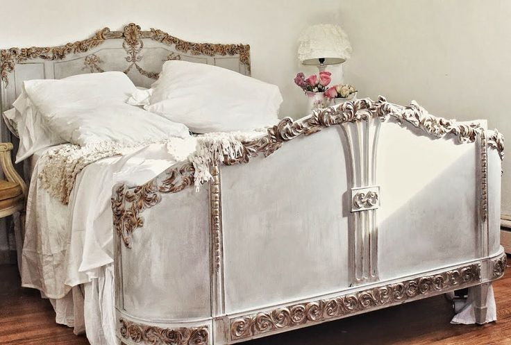 A gorgeous vintage bed given a stunning makeover by Victoria of Trois Petites Filles with Efex latex moldings and a lovely combination of Paris Grey & Old White Chalk Paint® decorative paint by Annie Sloan | Via stockist Maison Decor Blog in Reading, MA