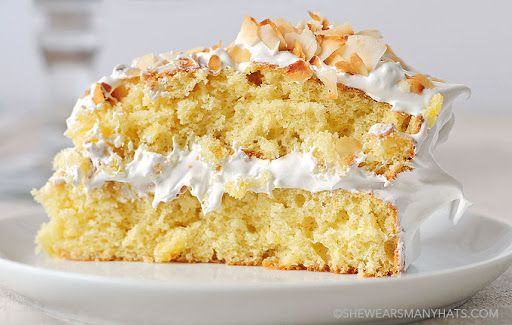 Pineapple Cake With Cake Flour, Baking Powder, Baking Soda, Salt, Pineapple Juice, Crushed Pineapple, Vanilla Extract, Butter, Sugar, Large Egg Yolks, Large Egg Whites