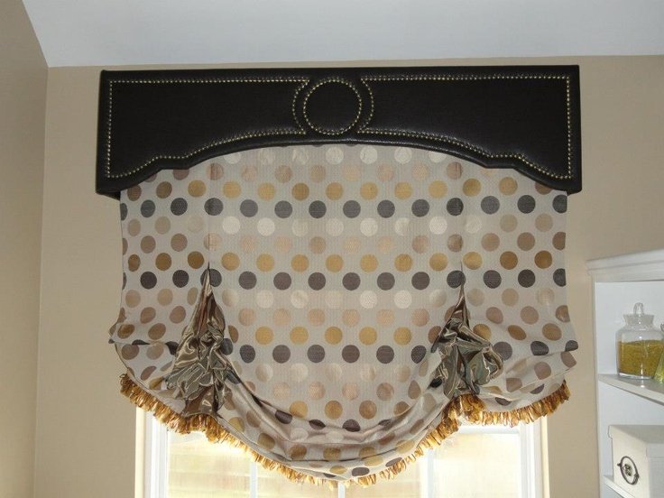 Faux Leather Upholstered Cornice With Nail Head Trim