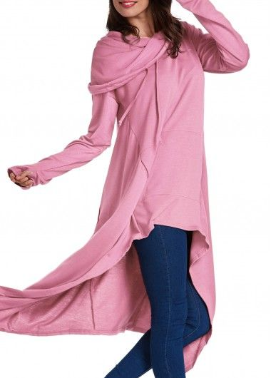 Solid Pink Glove Sleeve Asymmetric Hem Hoodie on sale only US$33.32 now, buy cheap Solid Pink Glove Sleeve Asymmetric Hem Hoodie at lulugal.com