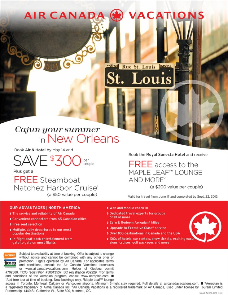 Book air and hotel by May 14, 2013 and save $300 per couple plus get a free steamboat Natchez Harbour Cruise (a $50 value per couple). - National Departures | Featured Special | Centre Holidays