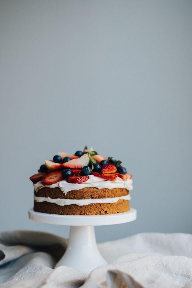Vegan Cashew Cream and Strawberry Sponge Cake