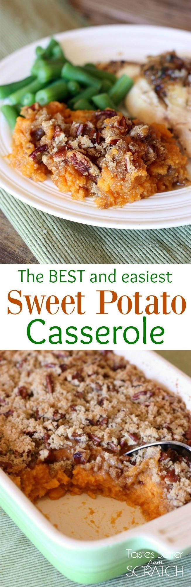 Sweet Potato Souffle--a delicious sweet potato casserole with brown sugar pecan topping. My FAVORITE easy thanksgiving side dish! | Tastes Better From Scratch