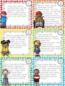 ADDITION AND SUBTRACTION WORD PROBLEM TASK CARDS -  Thomas Teachable Moments http://www.teacherspayteachers.com/Product/Addition-and-Subtraction-Word-Problem-Task-Cards-1605966