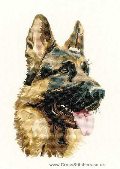 Cash - German Shepherd (Alsation) Portrait Cross Stitch Kit from Heritage Crafts     Beautiful!! but in 27 count I think..