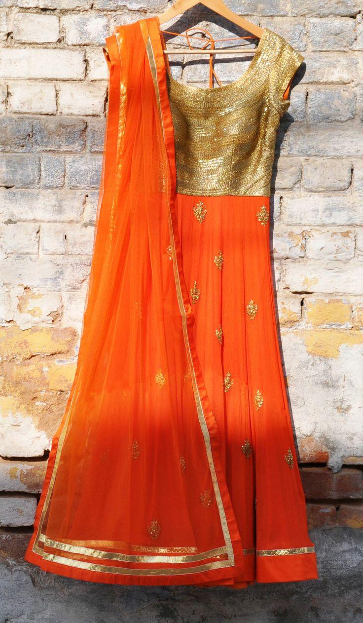 #Desi #Fashion: Gorgeous orange & gold #Anarkali