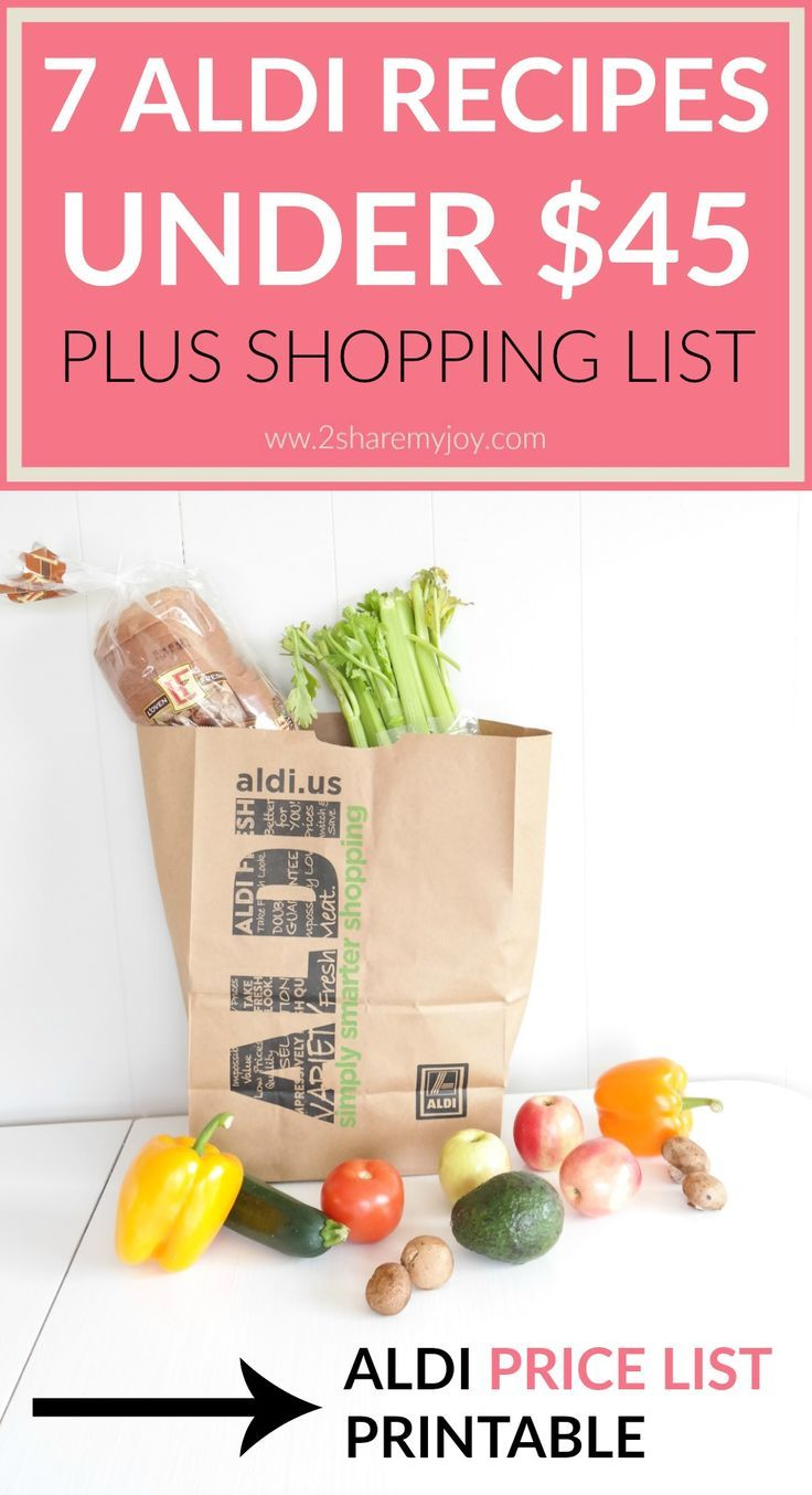 Aldi Meal Plan: 7 Aldi dinner recipes for under $45 PLUS Aldi grocery list with prices. Do you love shopping at ALDI? Sometimes it is hard to find frugal and simple recipes, or you just don't have much time to meal plan. Today I have 7 Aldi meals for under $45. You can simply print out the Aldi grocery shopping list that includes all prices. This will help you save time and energy on meal planning and money on grocery shopping