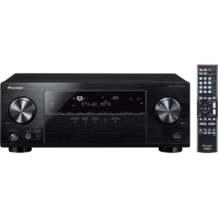 Pioneer VSX-830-K 3D Ready A/V Receiver - 5.2 Channel - Black - 0.1% THD - Dolby TrueHD, Dolby Digital Plus, DTS-HD Master Audio, DTS Neo:6, Dolby Pro Logic II, DTS HD - Internet Streaming - 20 Hz to 20 kHz - 450 W - 4K UHDTV - AM, FM - Wireless LAN - Blu