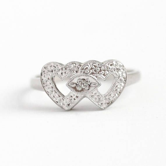 An Absolutely Beautiful And Romantic 10k White Gold Double Heart Ring The Piece Features Two Ope Beautiful Rings Vintage Antique Rings Vintage Beautiful Rings