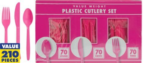 Bright Pink Cutlery Set 210pc - Party City