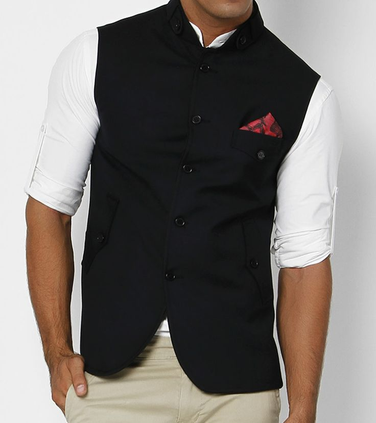 Navy Blue Sleeveless Nehru Jacket