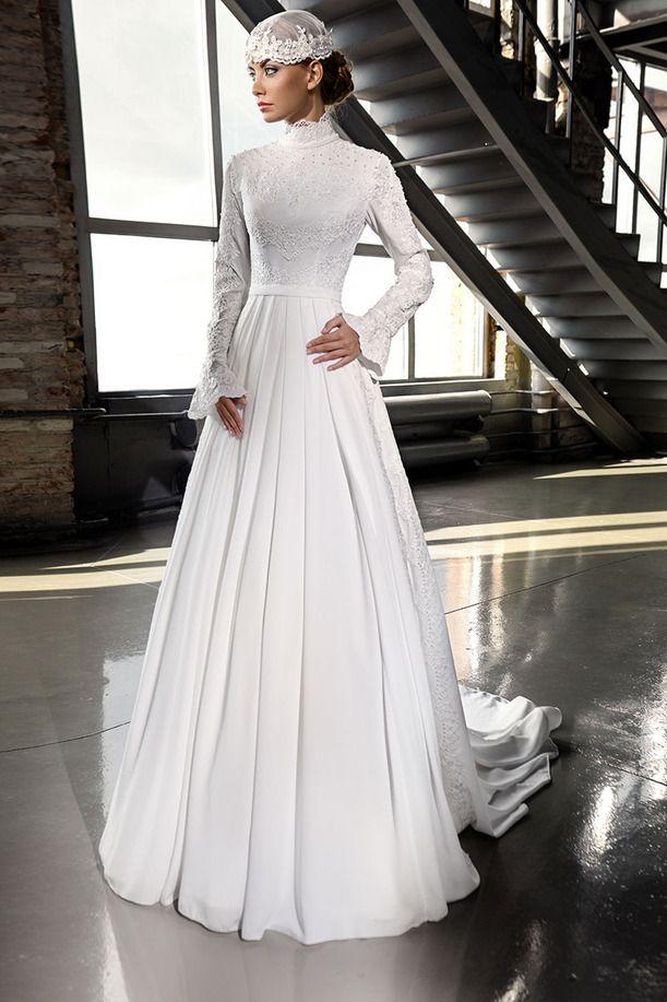 Трапециевидный свадебное платье кружево наложение шифон длинный рукав мусульманский хиджаб свадьба платье купить на AliExpress