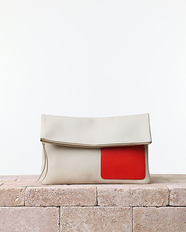 CÉLINE | Summer 2014 Leather goods and Handbags collection. Soft pouch handbag. Smooth calfskin chalk