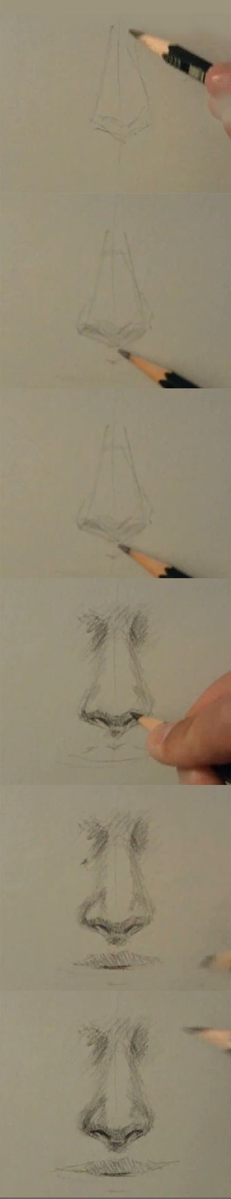How to draw and paint tutorials video and step by step: How to draw a nose